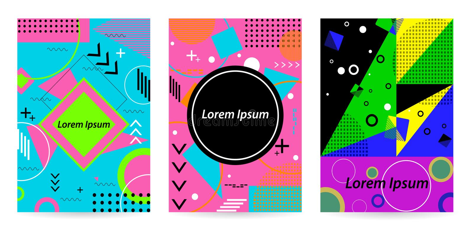 Promo banner in memphis style. Pattern background with space for. Pattern background with lines, dot, triangles in flat memphis style.With space for text. Vector stock illustration