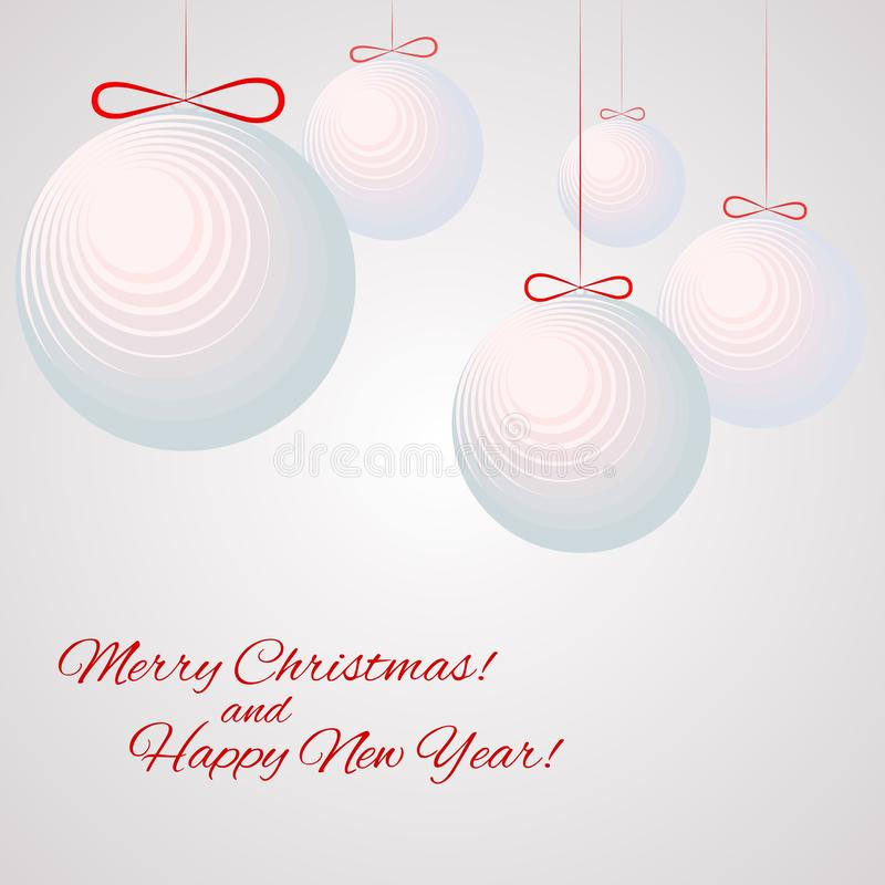 Pattern with balloons with text Hippy New Year and Merry Christmas Winter background royalty free illustration