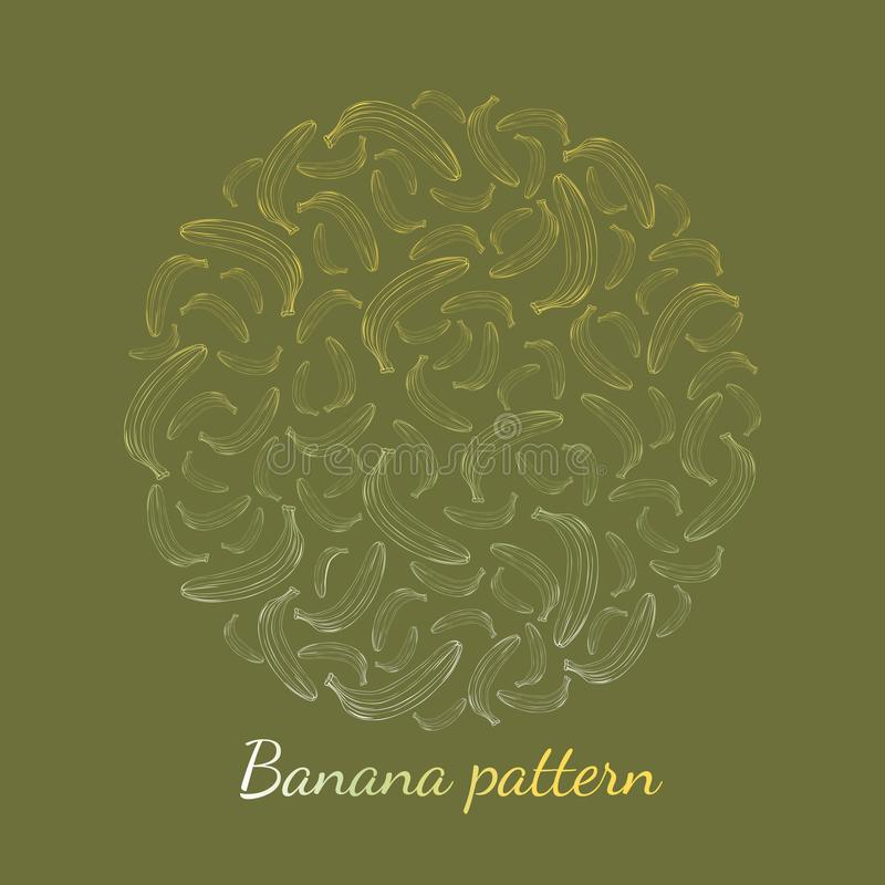 Pattern of banana outline on a green background stock illustration