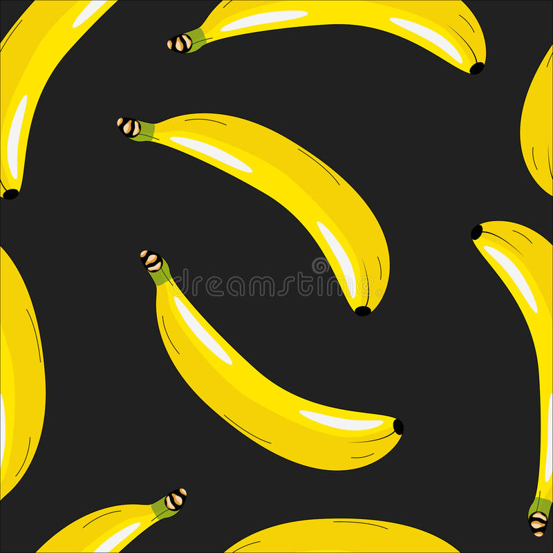 Pattern with bananas on a black background royalty free stock photos
