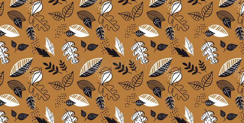 Pattern banner with hand drawn elegant autumn leaves. Design for wallpaper, gift paper, pattern fills, web page stock illustration