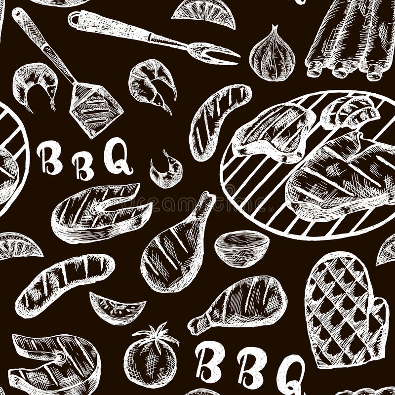 Pattern with barbecue food on craft paper. Grill hand drawn meat products on black background. Grill Sketch Seamless texture. Vector Illustration vector illustration