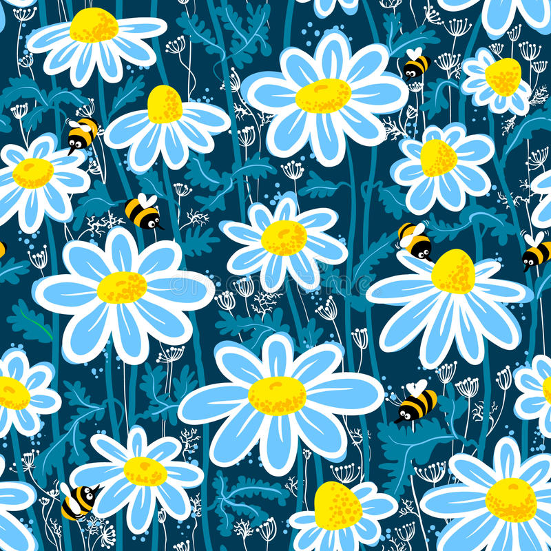Pattern with bee vector illustration