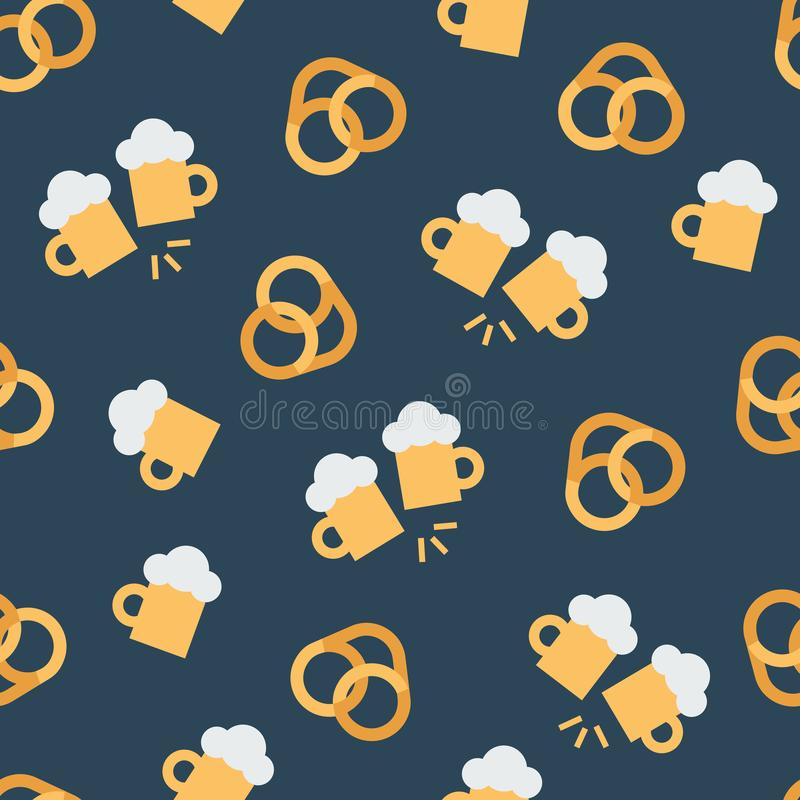 Pattern with beer and pretzels royalty free illustration
