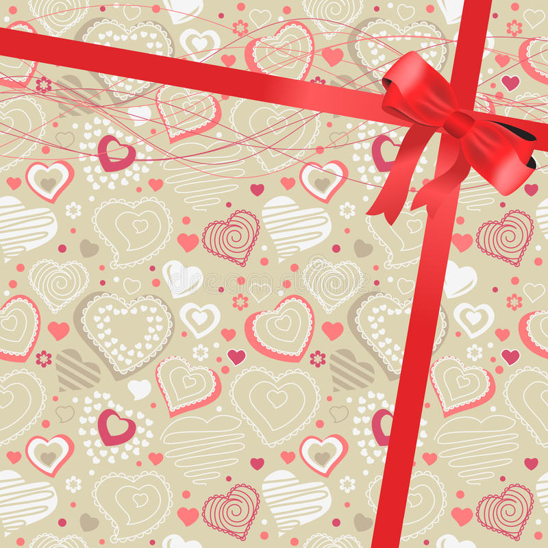 Pattern with beige contour hearts vector illustration