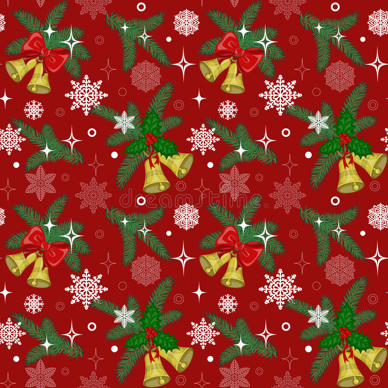 Pattern with bells and pine stock photos