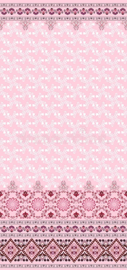 Pattern With Bells And A Wide Border On A Pink Bac Royalty Free Stock Photos