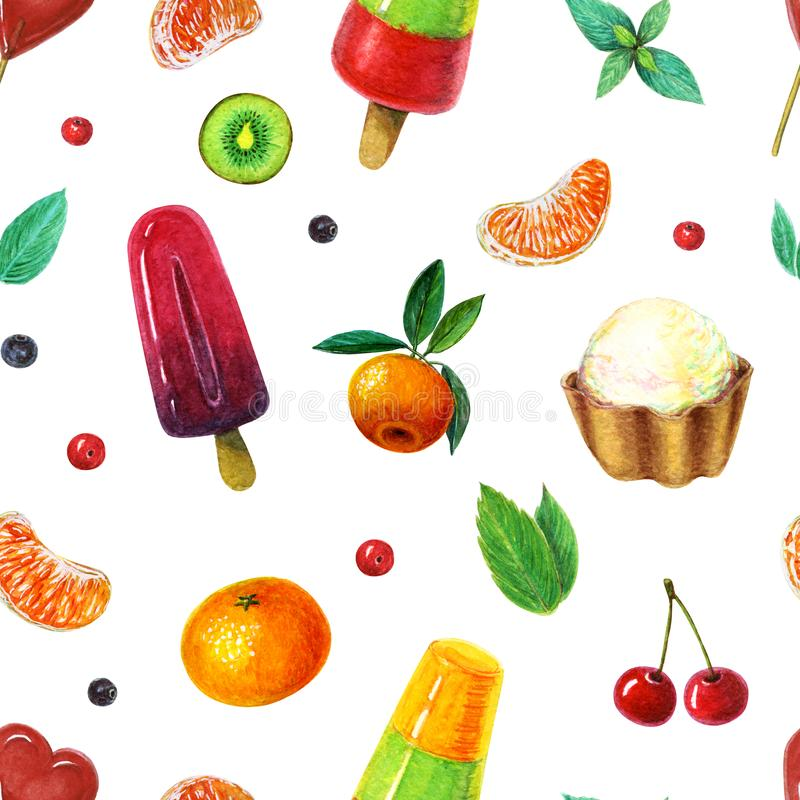 pattern of berry and orange popsicles with tangerine, cherry and kiwi. fresh and Juicy wallpaper with one scoop sundae royalty free illustration