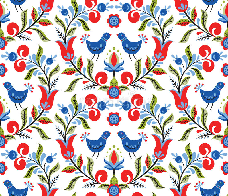 Pattern with birds and flowers royalty free illustration