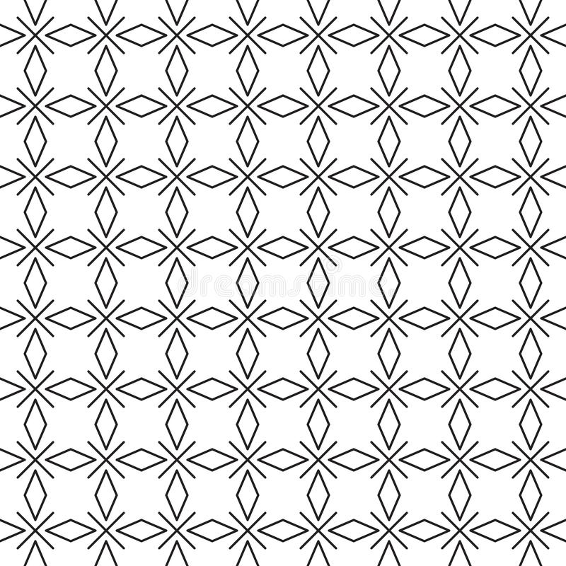 The pattern is black and white geometric from rhombuses and crosses. For fabric, paper, wallpaper royalty free illustration