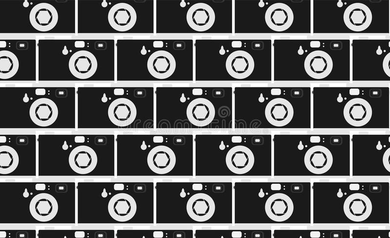 Pattern of black and white, hipster, beautiful, vintage retro cameras. Masonry from the cameras. Seamless texture. stock illustration