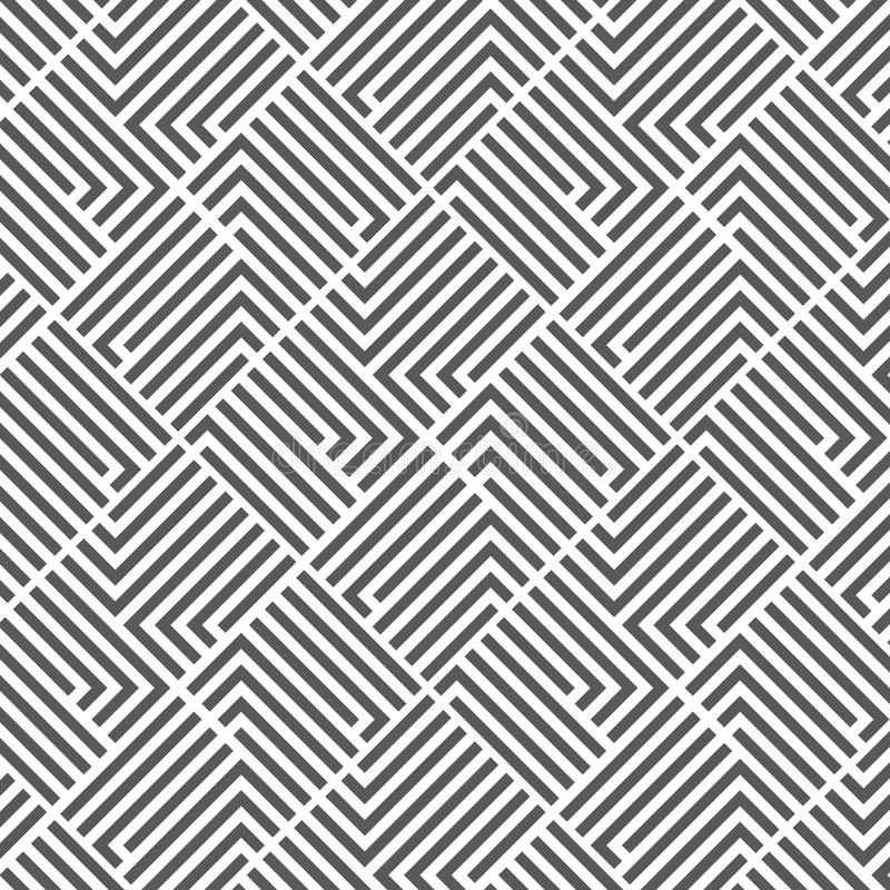 Pattern with black white striped lines. Geometric tile in op art style. Vector illusive background, texture. Futuristic element, royalty free illustration