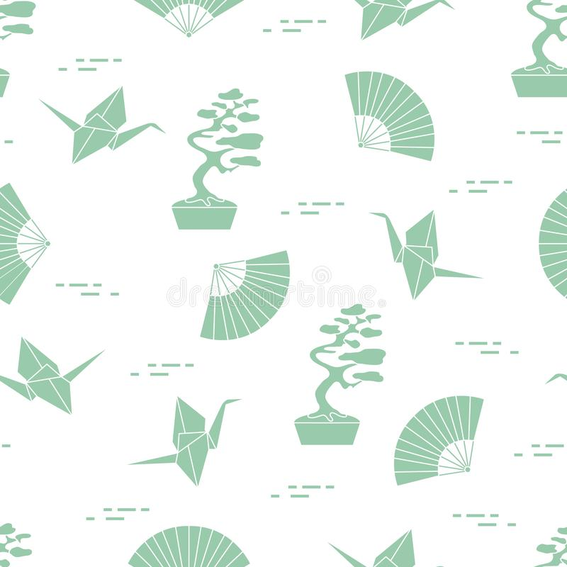 Pattern. Bonsai trees, origami cranes, fans. Seamless pattern with bonsai trees, origami paper cranes, fans. Travel and leisure. Japan traditional design royalty free illustration