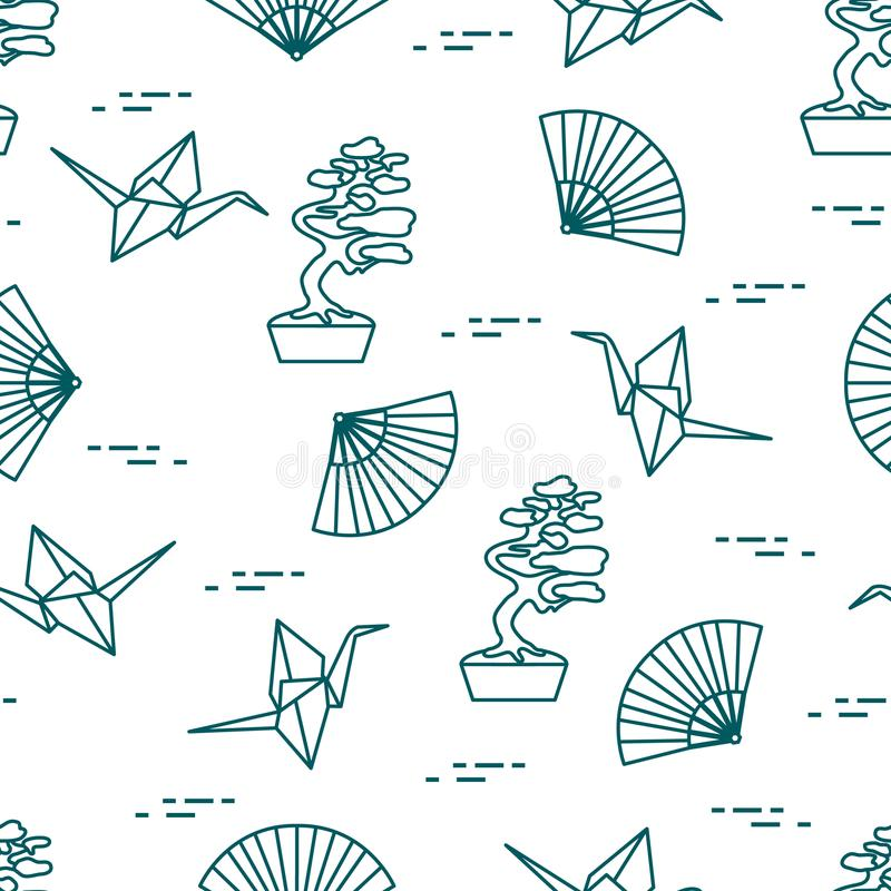 Pattern. Bonsai trees, origami cranes, fans. Seamless pattern with bonsai trees, origami paper cranes, fans. Travel and leisure. Japan traditional design vector illustration
