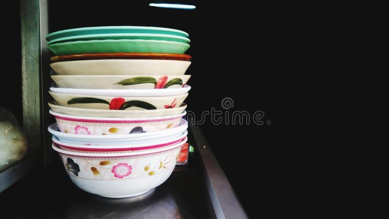 Pattern of bowl. The pattern of the bowl is stacked in front of the food store stock photos