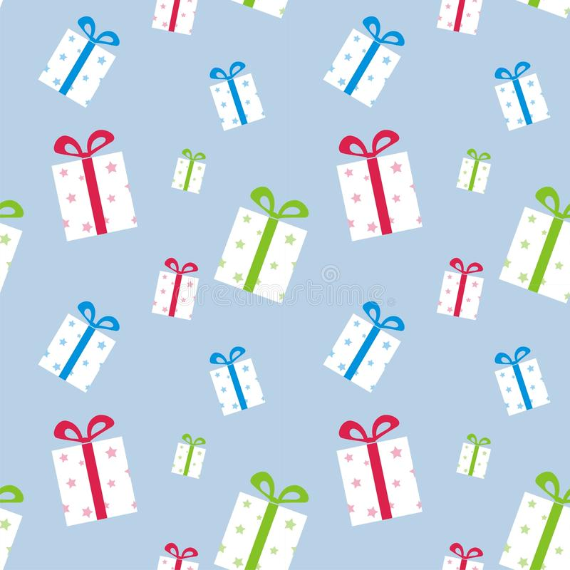 The pattern of boxes with gifts stock illustration