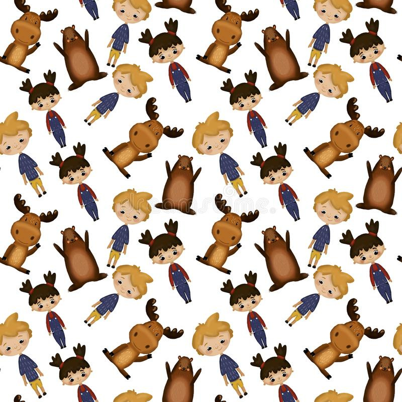 Pattern with boy and girl stock illustration