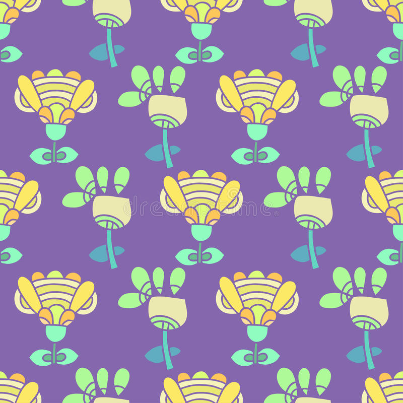 Download Pattern With Bright Flowers On A Purple Background Stock Vector - Illustration of background, blue: 34362182