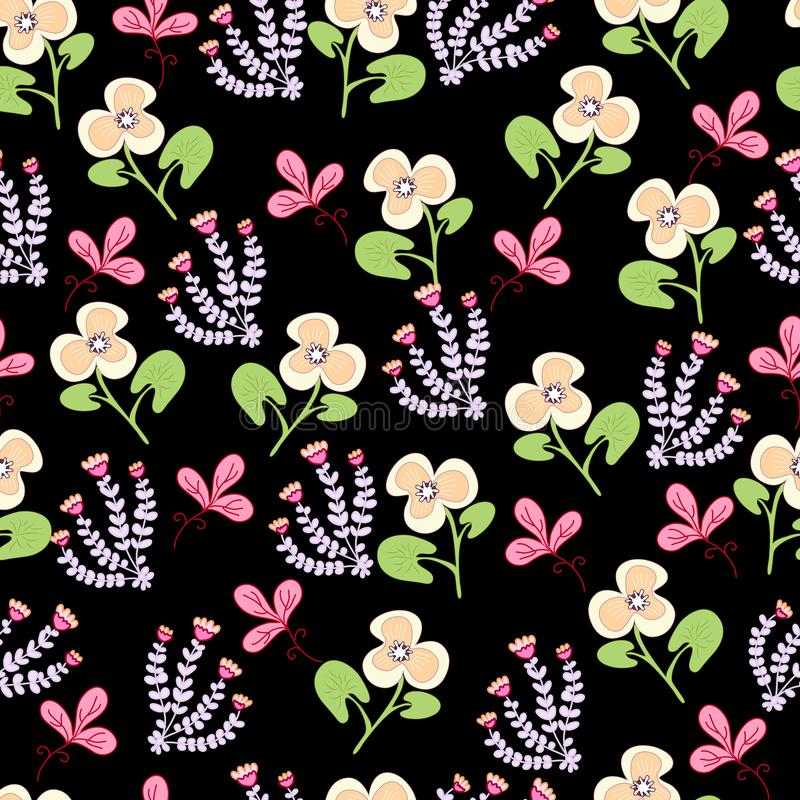 Pattern multicolored decorative flowers and leaves on a vihte background. Pattern bright multicolored ornamental flowers, and leaves on a red background royalty free illustration