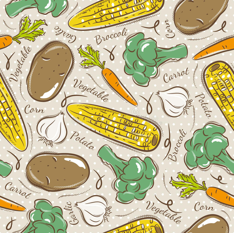 Pattern with broccoli, corn and potato. Background with broccoli, corn and potato. Ideal for printing onto fabric and paper or scrap booking stock illustration