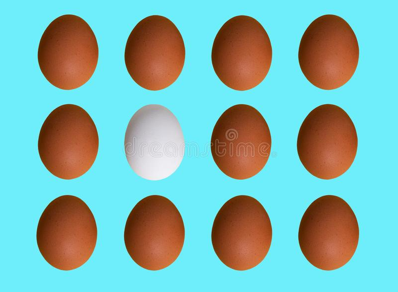 Pattern of brown white chicken eggs isolated on blue pastel background. Top view stock photography