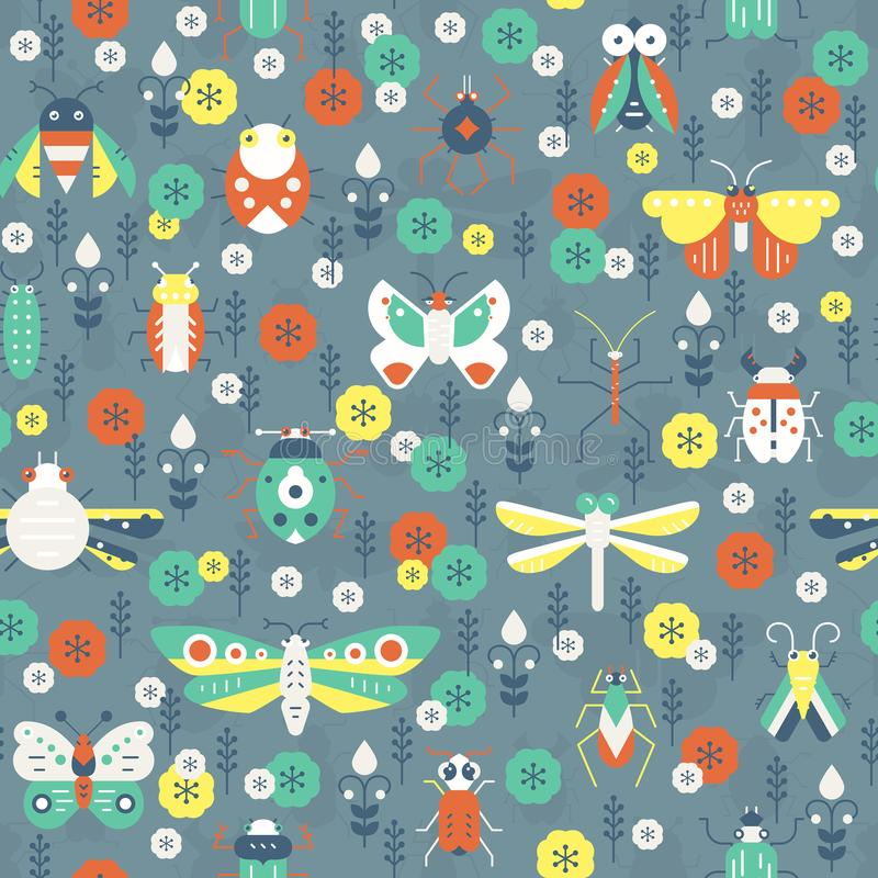 Pattern with Bugs. Beautiful geometric pattern with bugs and insects. Colorful seamless texture for your design made in vector royalty free illustration