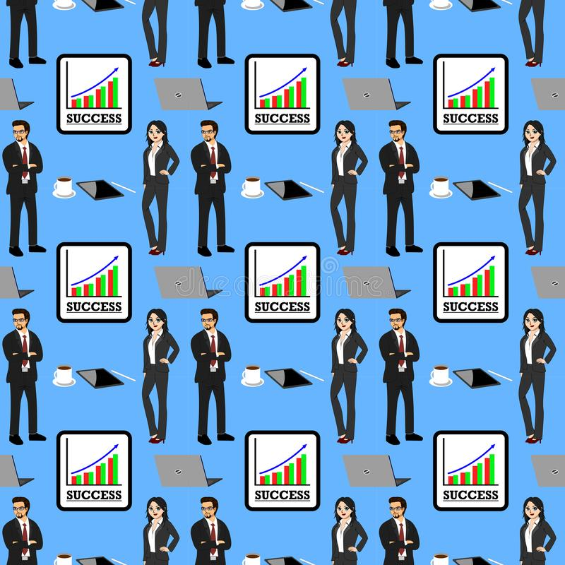 Pattern of businessman image, success graph, computer, tablet, coffee cup. vector illustration