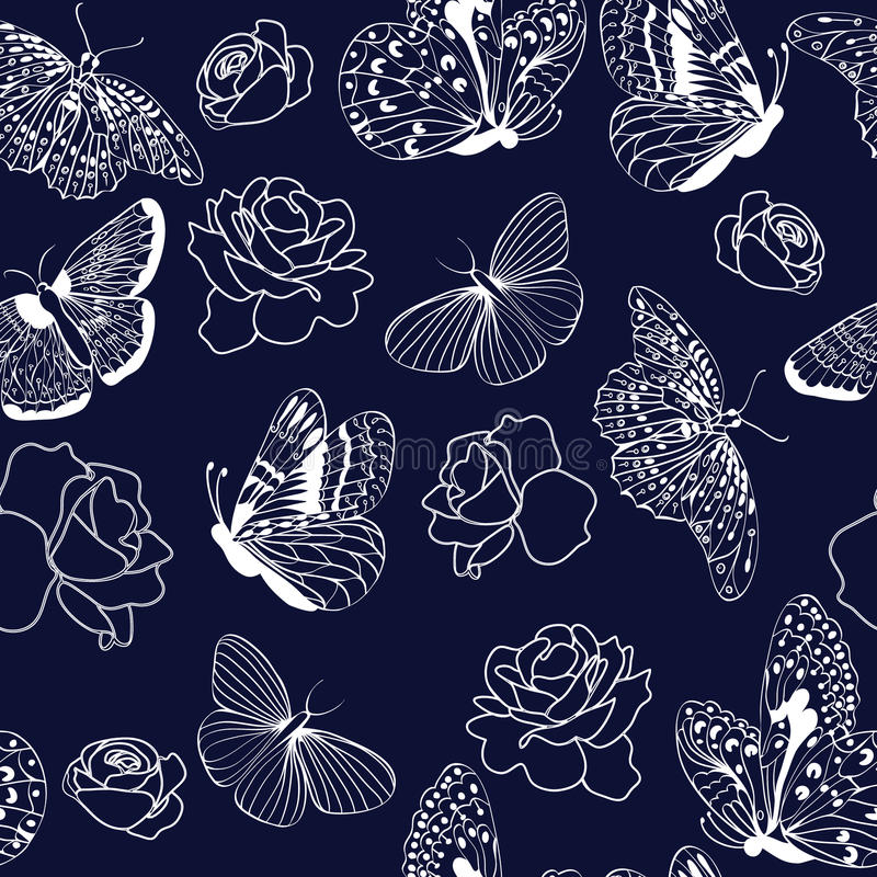 Pattern butterflies and roses on dark blue background. vector illustration
