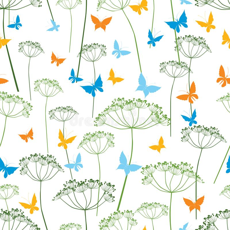 Pattern of butterflies and umbellate plants royalty free illustration