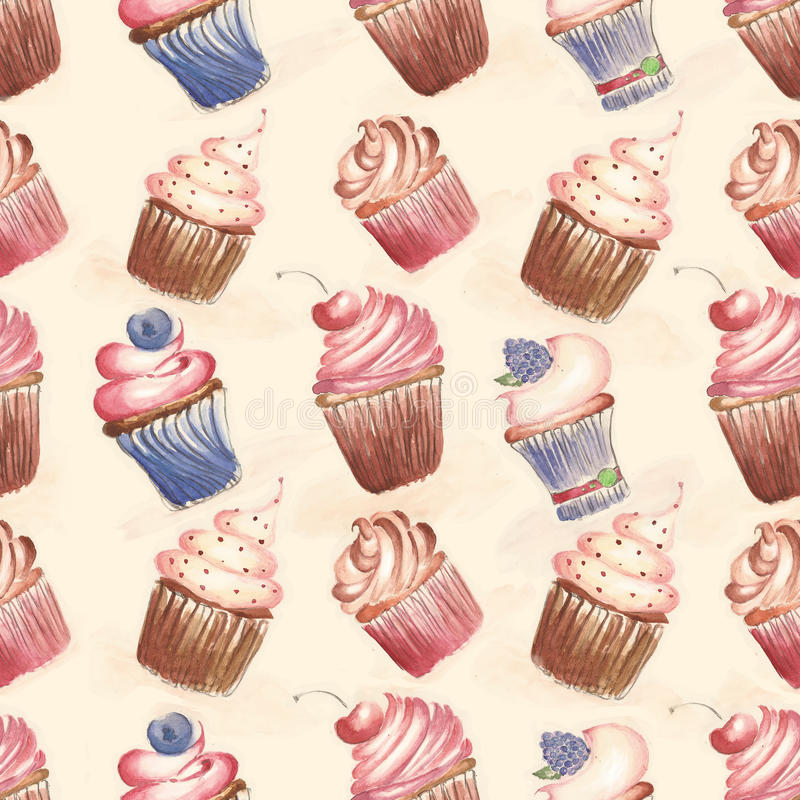 Pattern with cakes, cupcakes stock illustration