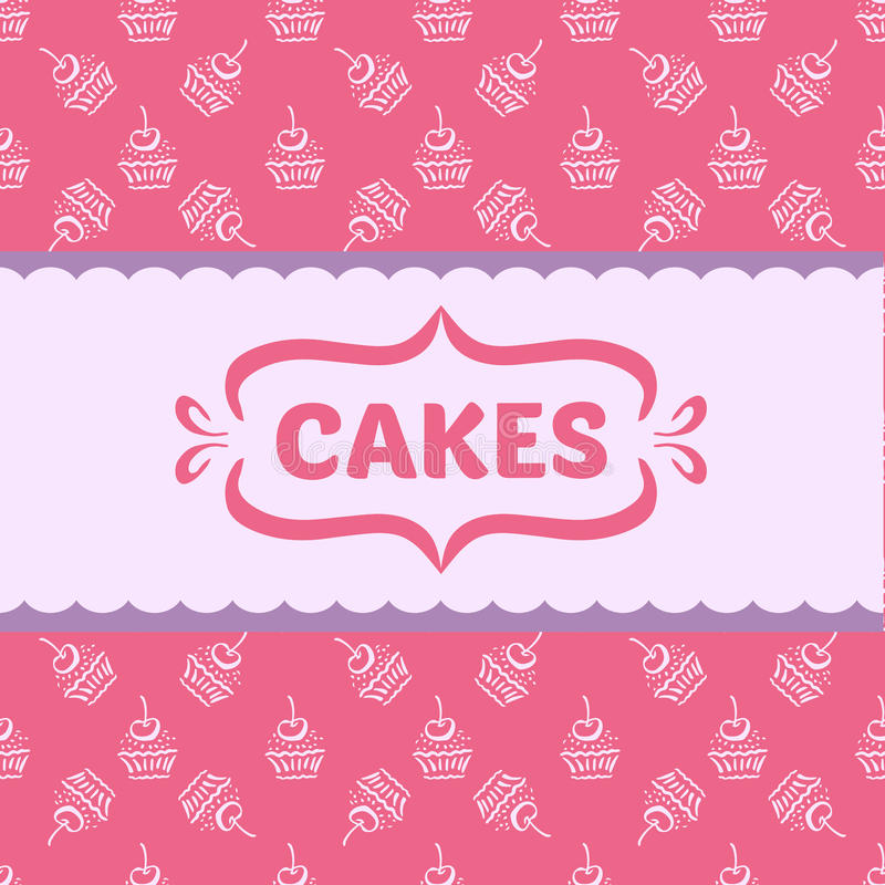 Pattern with cakes and cupcakes vector illustration