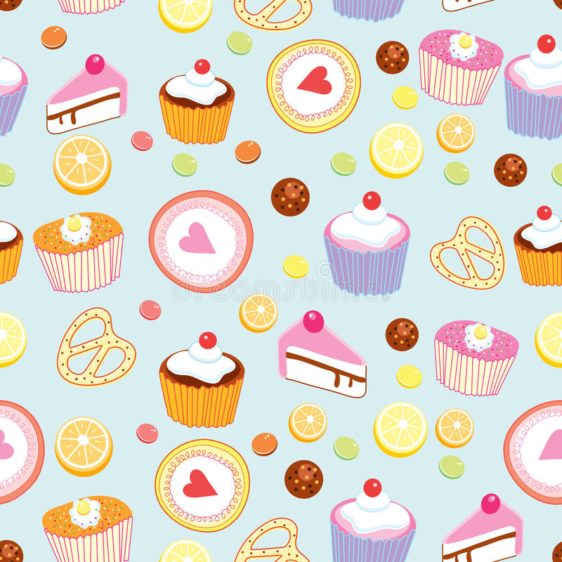 Pattern of cakes and pastries royalty free stock photos
