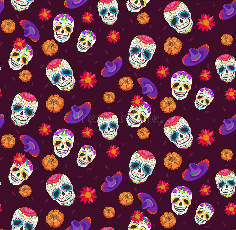 Pattern with calavera, sambrero and flower. Symbols of the day of the dead stock illustration
