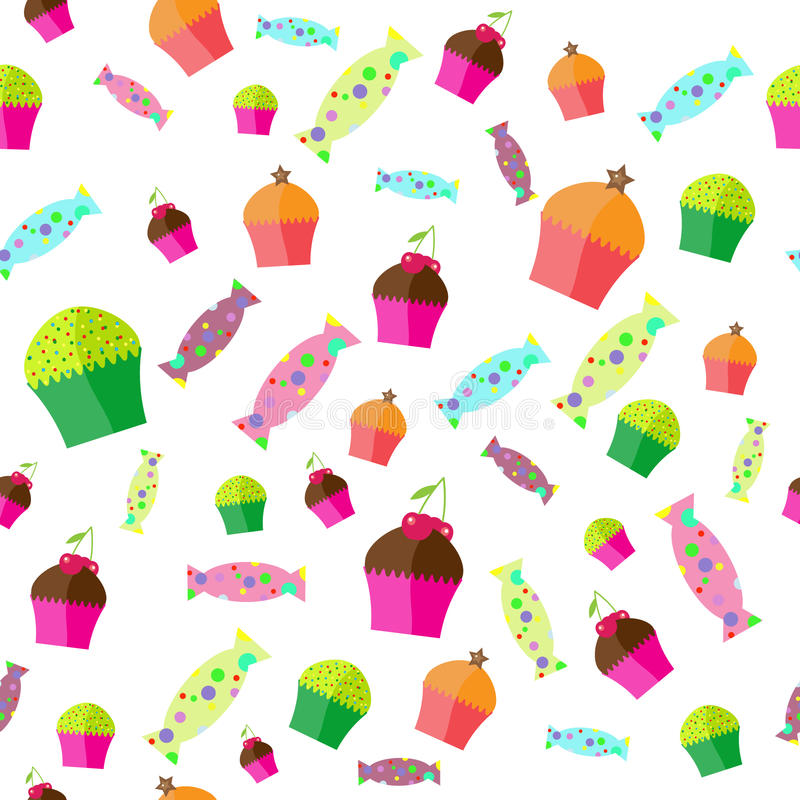 The pattern with candies and muffins. Vector stock illustration