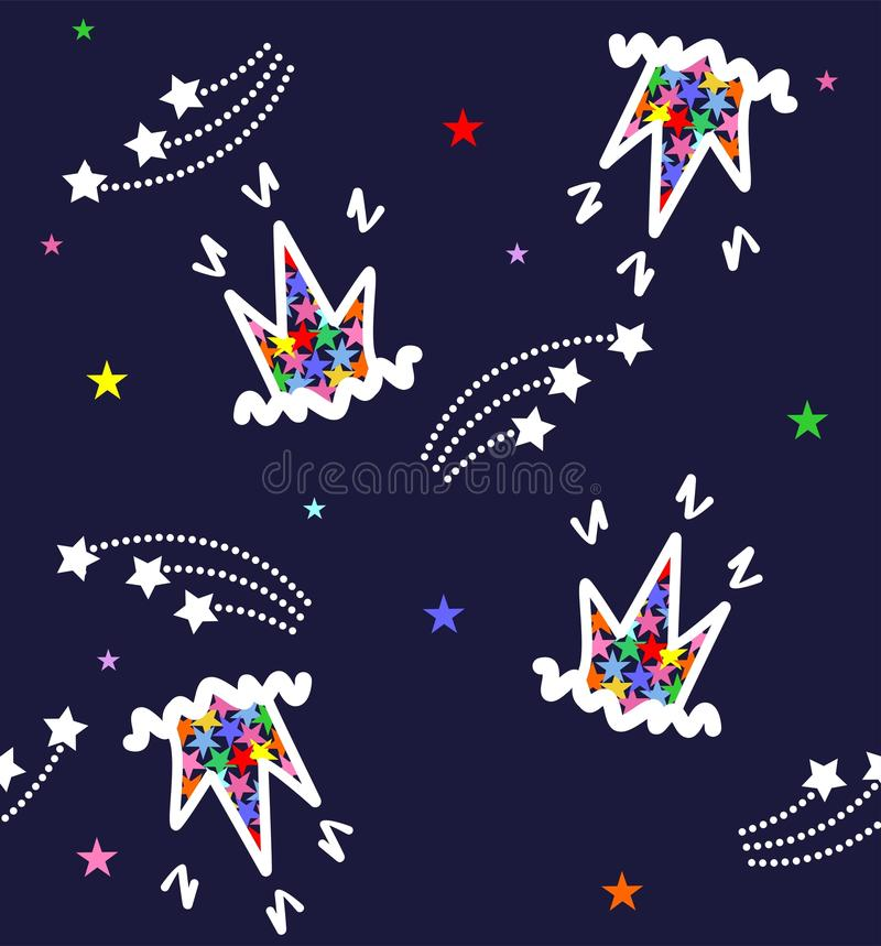 Pattern carons and stars on a blue background stock photos