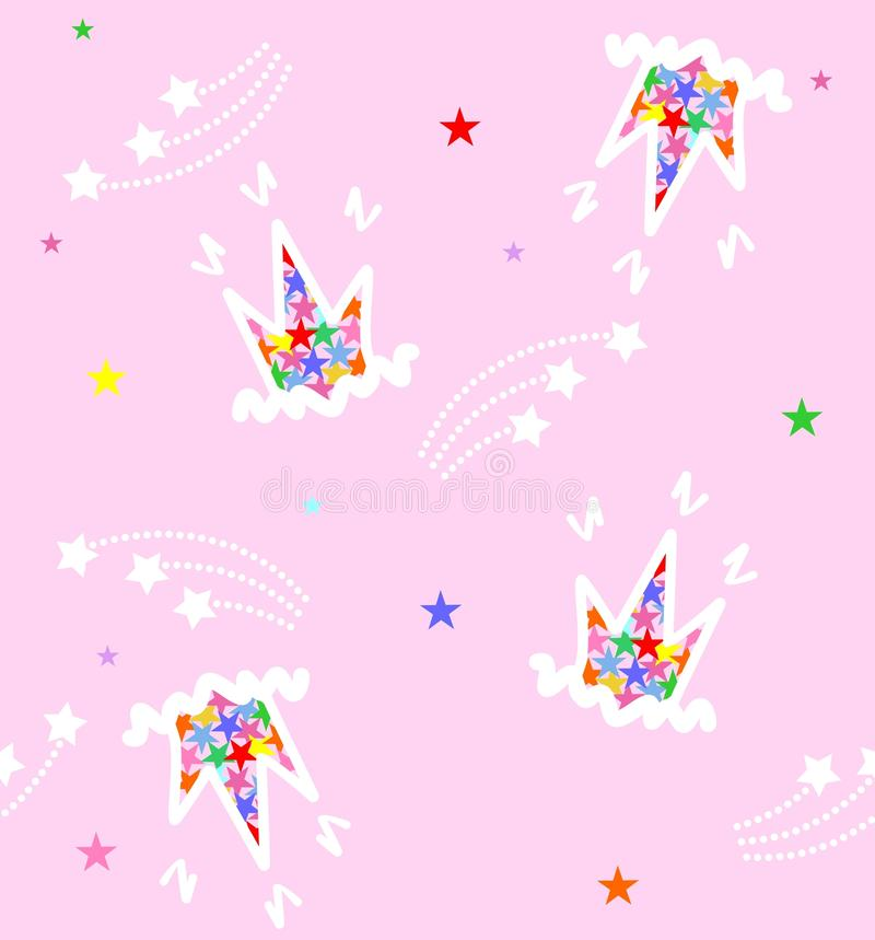Pattern carons and stars on a pink background royalty free stock image