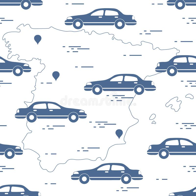 Pattern with cars and map of Spain. Travel and leisure. Design for announcement, advertisement, banner or print. Vector. Pattern with cars and map of Spain vector illustration