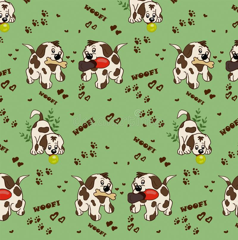 Pattern of cartoon dogs play the ball and sneakers stock photography