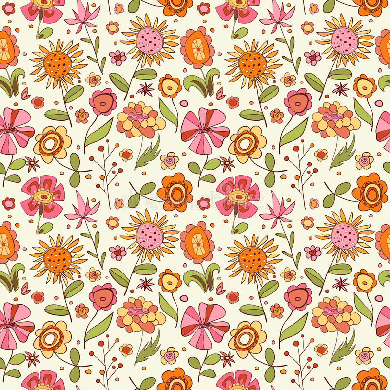 Download Pattern With Cartoon Flowers Stock Vector - Illustration: 22199995