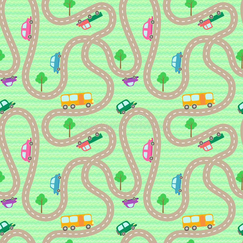 Pattern with cartoon roads ad cars. Vector seamless pattern with cartoon roads ad cars stock illustration