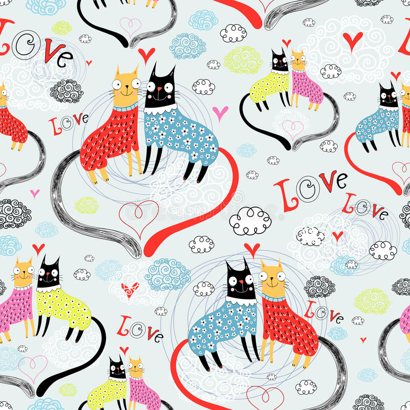 Download Pattern of cat lovers stock vector. Image of background - 23351327