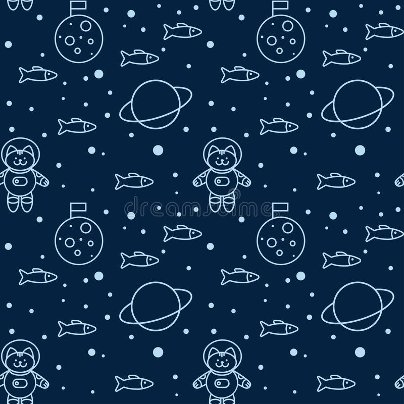 Pattern with cat in space vector illustration