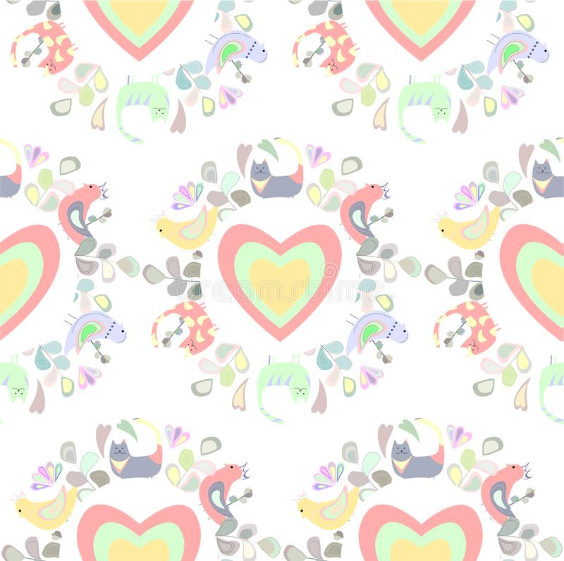 Pattern of cats, birds, leaves and flovers, colored hearts royalty free illustration