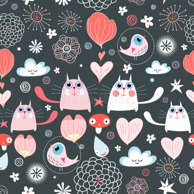Download Pattern Of The Cats And Hearts Stock Vector - Image: 18894464