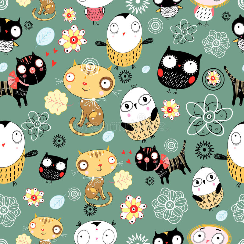 Pattern of cats and owls stock illustration