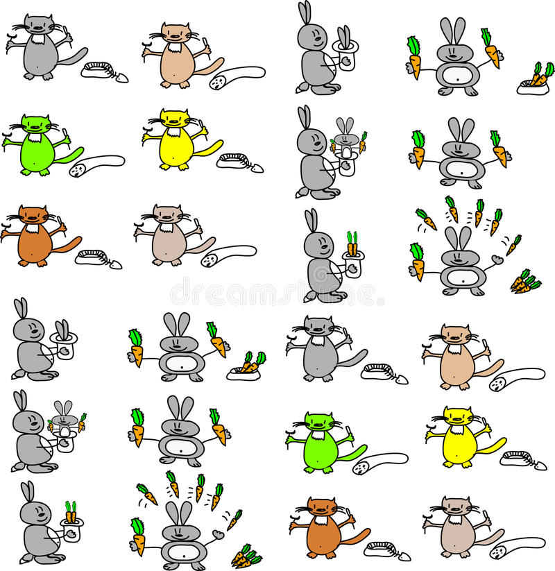 Cats and rabbits royalty free stock photography