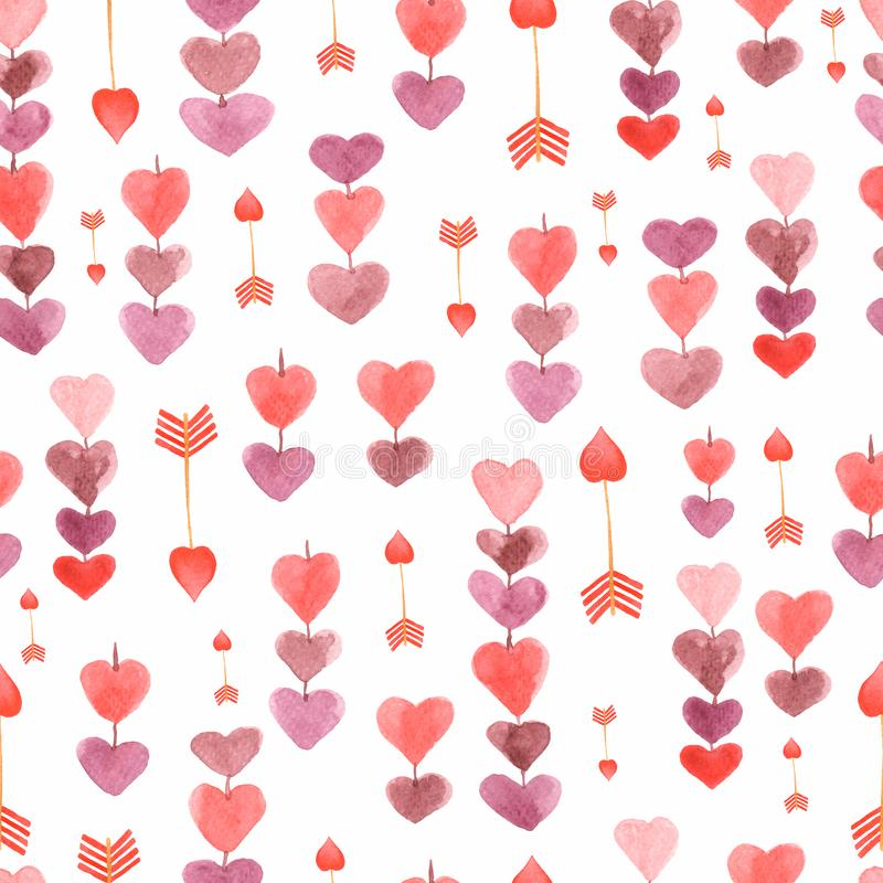 Pattern of chain of hearts and arrows. Seamless background for your design.Romantic texture in pastel colors hand drawn with stock illustration