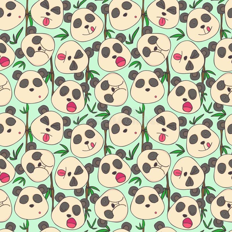 Pattern of cheerful muzzles pandas stock photo