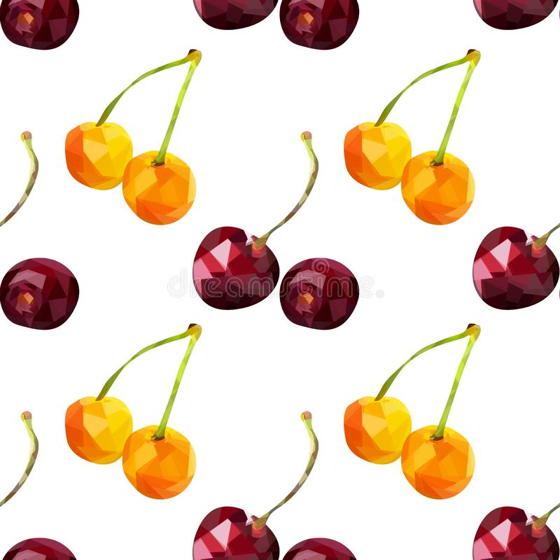 Yellow and red cherry berries seamless in low poly style, on a white background. Rattern royalty free illustration