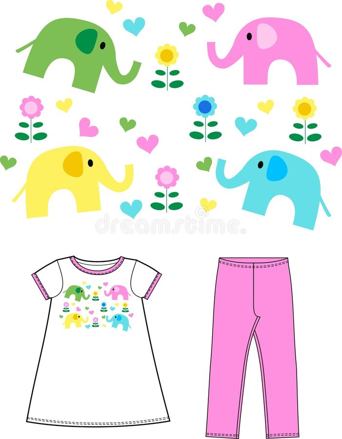 Pattern for childrens wear stock photos